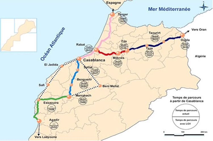 Tracé LGV au Maroc