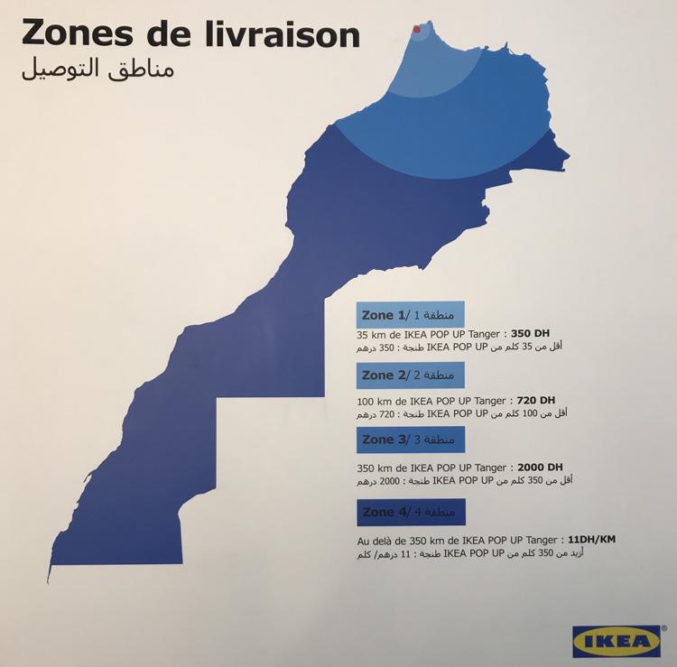 Zones livraison Ikea Tanger