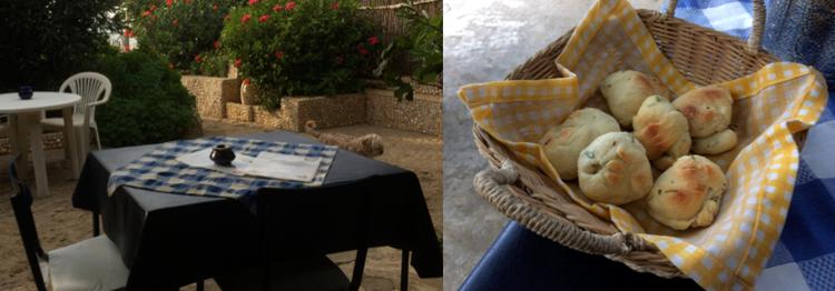 Jolie terrasse et pain maison
