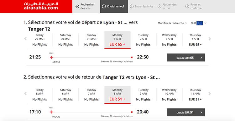 Vol Lyon-Tanger-Lyon
