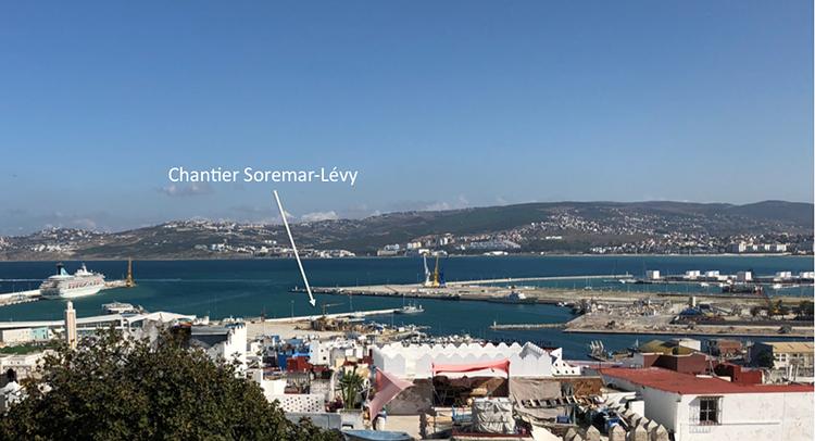 Chantier Soremar-Lévy vu de la Kasbah de Tanger