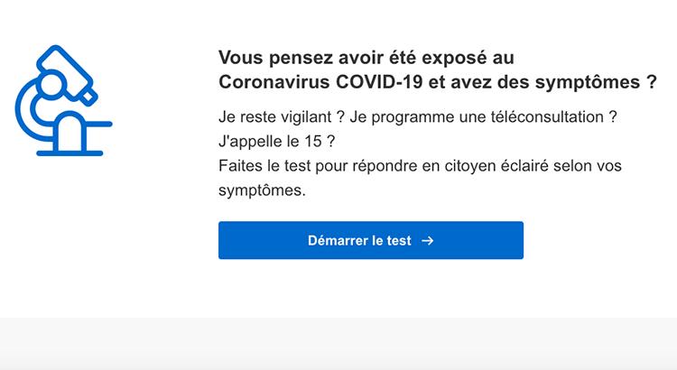 Auto test numérique d'exposition au Covid-19.