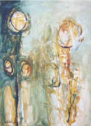22 Aziz Boumehdi (1957) «Composition» Acrylique sur papier 75x53 cm 1 800 dhs